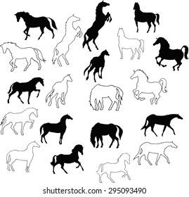 Set of 10 silhouettes and outlines of horses. Horses run, stand- collection of vector drawings.