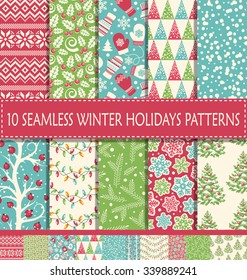 Set of 10 Ten Seamless Bright Fun Christmas Winter Holidays Patterns