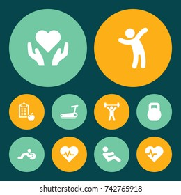Set Of 10 Training Icons Set. Collection Of Pulse, Regime, Heartbeat And Other Elements.