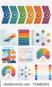 Set 10 universal templates elements Infographics conceptual cyclic processes for 6 positions possible to use for workflow, banner, diagram, web design, timeline, area chart,number options