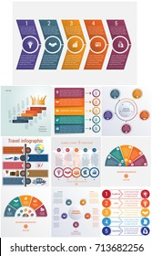 Set 10 universal templates elements Infographics conceptual cyclic processes for 5 positions possible to use for workflow, banner, diagram, web design, timeline, area chart,number options