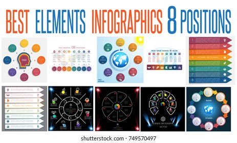Set 10 universal templates elements Infographics conceptual cyclic processes for 8 positions possible to use for work flow, banner, diagram, web design, time line, area chart,number options