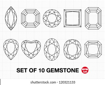 Set 10 vector gemstones on graph paper. Vector illustration.