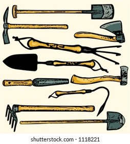 A set of 10  vector illustrations of gardening  tools. Check my portfolio for many more images.