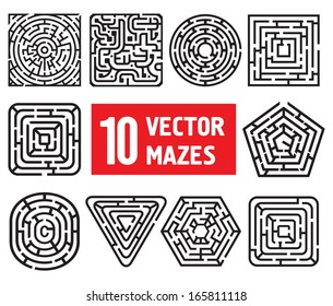 Set of 10 vector mazes. Different black and white shapes