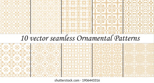 Set of 10 vector seamless  Ornamental Patterns white background