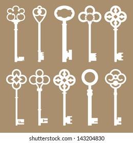 Set of 10 Vintage Skeleton Keys