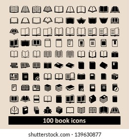 Set of 100 book icons