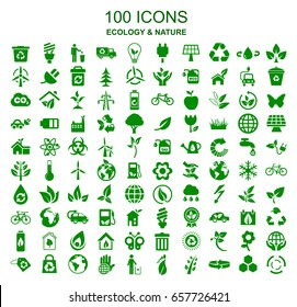 Set of 100 ecology icons – stock vector