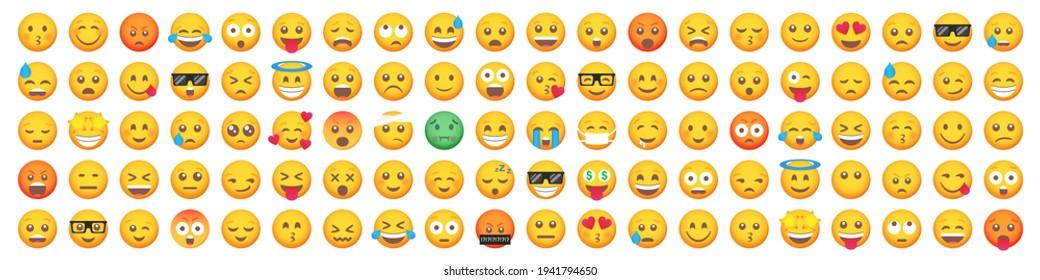 Set of 100 emoticon smile icons. Cartoon emoji set. Vector emoticon set