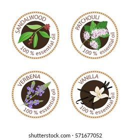 Set of 100 essential oils labels. Sandalwood, patchouli, verbena, vanilla symbols. Logo collection. Vector illustration. Brown stamps, realistic. For cosmetics, health care, aromatherapy, cosmetics