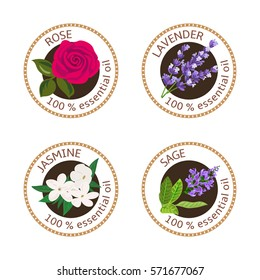 Set of 100 essential oils labels. Rose, Sage, Lavender, jasmine symbols. Logo collection. Vector illustration. Brown stamps, realistic. For cosmetics, spa, health care, aromatherapy, cosmetics, banner