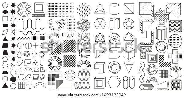Set of 100 geometric shapes. Mega set of memphis design elements, template for your project. Collection trendy halftone vector geometric shapes.