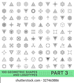 Set of 100 geometric shapes. Trendy hipster icons and logotypes. Religion, philosophy, spirituality, occultism symbols collection