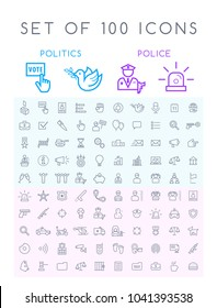 Set of 100 Isolated Minimal Modern Simple Elegant White Stroke Icons ( Politics and Police )
