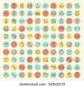Set of 100 Isolated Universal Minimal Simple Vintage Thin Line Baby, Veterinary, Airport and Beach Icons on Circular Color Buttons.