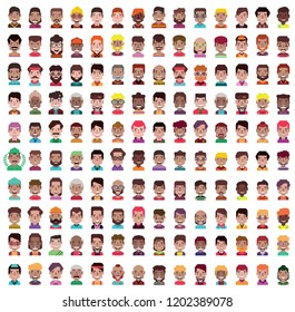 Set of 100 men and women avatars in flat design.Isolated on white background