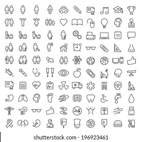Set of 100 Minimal Modern Elegant White Stroke Icons (Family, People Education, School and Medical)
