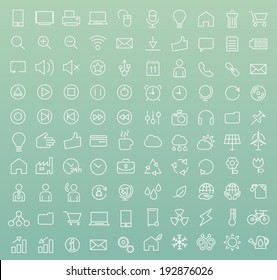 Set of 100 Minimal Modern White Stroke Icons (Interface, Multimedia, Business and Ecology)