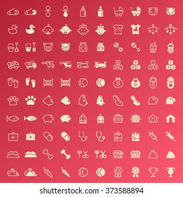 Set of 100 Minimal and Solid Baby and Veterinary Icons. Vector Isolated Elements.