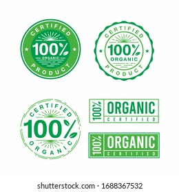 Set of 100% organic green badge stemp lebel sticker for logo design organic, natural, bio and eco friendly products