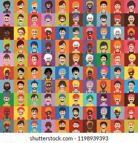 Set of 100 people icons with faces