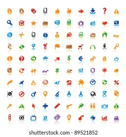 Set of 100 perfect designer icons for web, business, media and leisure. Main shape, highlights and reflection are in separate layers.