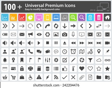 Set of 100+ Universal Premium Icons. Easy to modify the background color. Media Icons, Web Icons, Arrow Icons, Settings Icon, Shopping Icons, Cloud Icons, User Icons, Finance Icons, Mobile Icons.