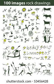 Set of 100 vector rock drawings