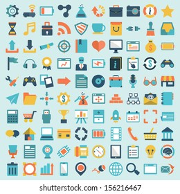 Set of 100 vector social media icons. Flat design - part 1 - vector icons
