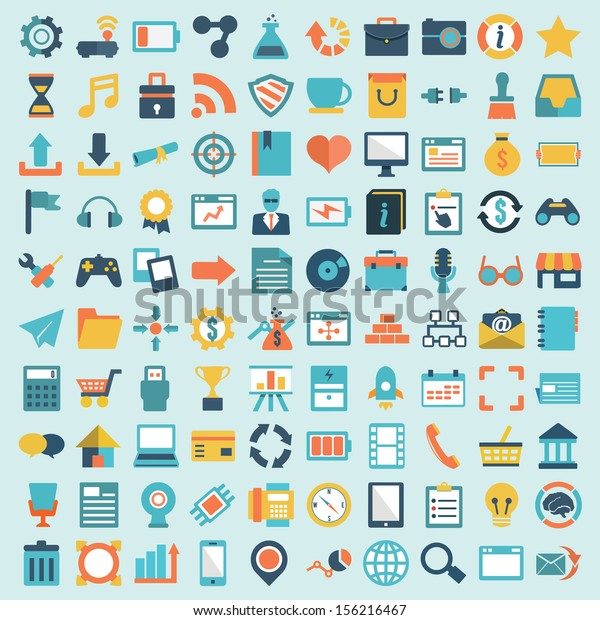 Set of 100 vector social media icons. Flat design - part 1 - vector icons