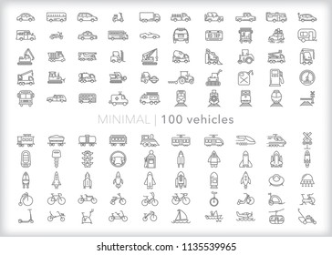 Set of 100 vehicle icons for driving, commuting, hauling and transportation including cars, trucks, trains, rail, train, construction, bicycles, boats and gas station items