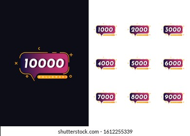 Set of 1000 to 10000 Followers Template Desgn. Vector Eps 10