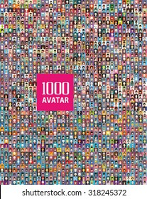 Set of 1000 color,diferent avatar