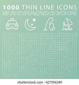 Set of 1000 Minimal Universal Modern Elegant White Thin Line Icons on Color Background.