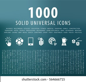 Set of 1000 Universal Solid Icons. Isolated Vector Elements.