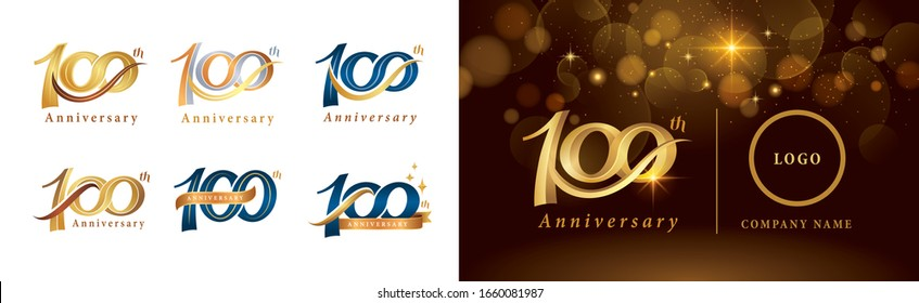 Set of 100th Anniversary logotype design, Hundred years Celebrate Anniversary Logo silver and golden, Vintage and Retro Script Number Letters, Elegant Classic Logo for Congratulation celebration event