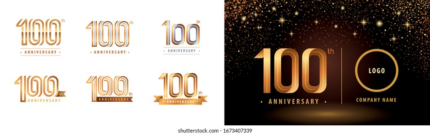 Set of 100th Anniversary logotype design, Hundred years Celebrate Anniversary Logo multiple line for Congratulation celebration event,invitation, greeting,Flyer,booklet,Abstract silver and golden logo