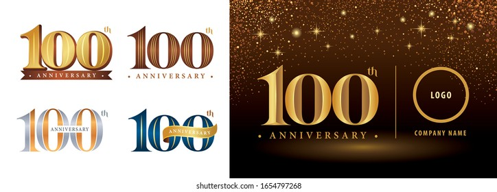 Set of 100th Anniversary logotype, Hundred years Celebrating Anniversary Logo silver and golden, Vintage and Retro Serif Number Letters, Elegant Classic Logo for Congratulation celebration event