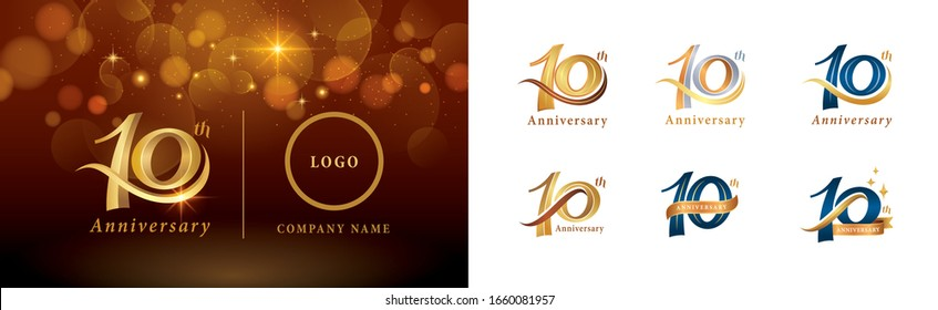Set of 10th Anniversary logotype design, Ten years Celebrate Anniversary Logo silver and golden, Vintage and Retro Script Number Letters, Elegant Classic Logo for Congratulation celebration event