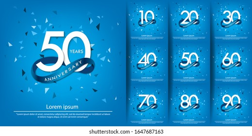 set of 10th-90th anniversary celebration emblem. white anniversary logo with blue circle ribbon. vector illustration template design for web, poster, flyers, greeting card and invitation card