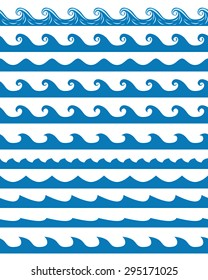 Set of 11 blue seamless waves patterns isolated on white. EPS 10 vector illustration, no transparency
