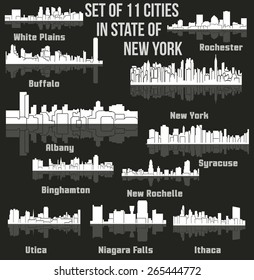 Set of 11 Cities in State of New York (Albany, New York, Buffalo, Ithaca, Syracuse, New Rochelle, White Plains, Rochester, Binghamton, Utica, Niagara Falls)