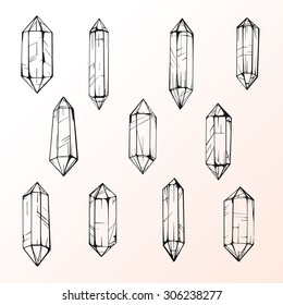 Set of 11 magic crystal gems. Hand drawing crystals. tatto design element