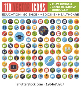 Set of 110 flat design long shadow round vector icons for web, print, apps, interface design: science, education, medicine, health care.