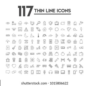 Set of 117 icons with different themes