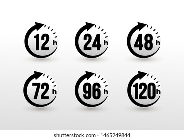 Set of 12, 24, 48, 72, 96, 120 hours clock arrow. Work time effect or delivery service time icons. Hours order execution or delivery service. Vector illustration. Isolated on white background.