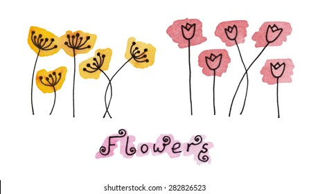 Set (1/2) of abstract black hand drawn flowers on watercolor blots in doodle style. Vector Illustration EPS8.
