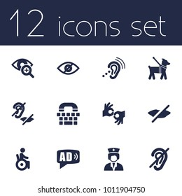 Set of 12 accessibility icons set. Collection of low vision, sign language, mute and other elements.