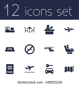 Set Of 12 Airplane Icons Set.Collection Of Cab, Passport, Leaving And Other Elements.
